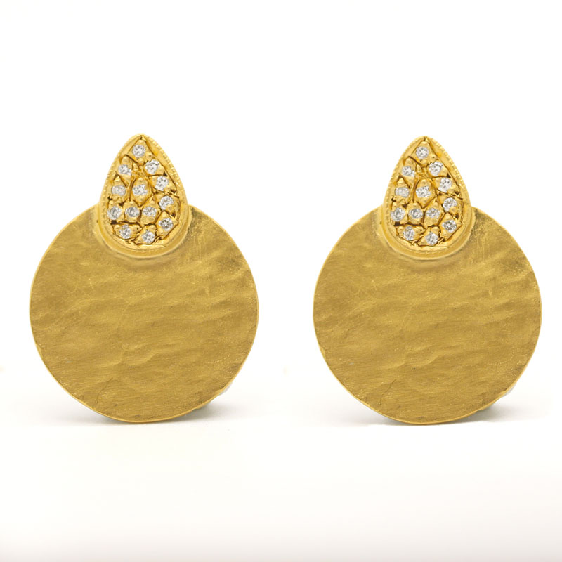 Perfect Everyday Diamond Earrings Plated In 24K Gold - Item # ER0029 - Reliable Gold Ltd.