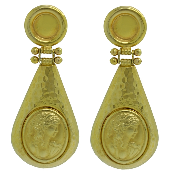 Hammered Drop Female Bust Earrings - Item # ER1637 - Reliable Gold Ltd.