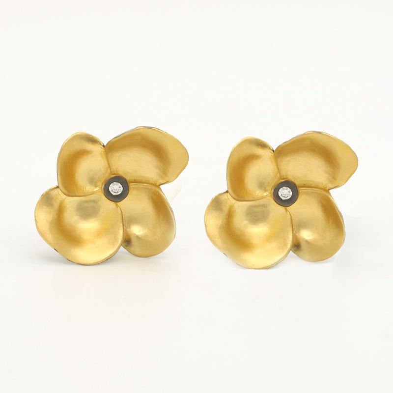 24K Gold Plated Flower Earrings With Diamond Centers - Item # ER0040 - Reliable Gold Ltd.