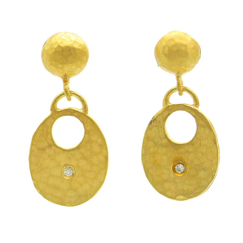 22K Gold Over Sterling Silver Earrings With Diamonds - Item # ER0166 - Reliable Gold Ltd.