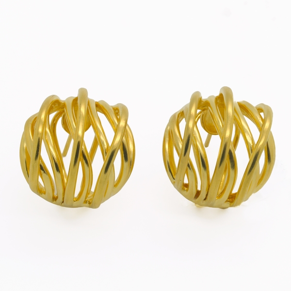 Gold-Plated Silver Open Button Earrings - Item # ER0188 - Reliable Gold Ltd.
