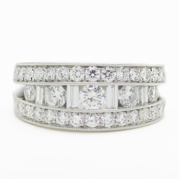 Graduated Round & Baguette Diamond Band - Item # R0507 - Reliable Gold Ltd.