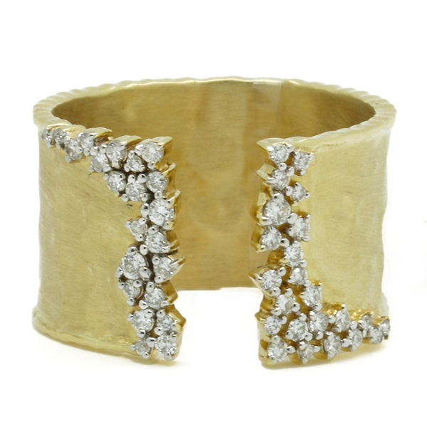 Gold Hammered Open Front Ring With Diamonds - Item # R1730 - Reliable Gold Ltd.