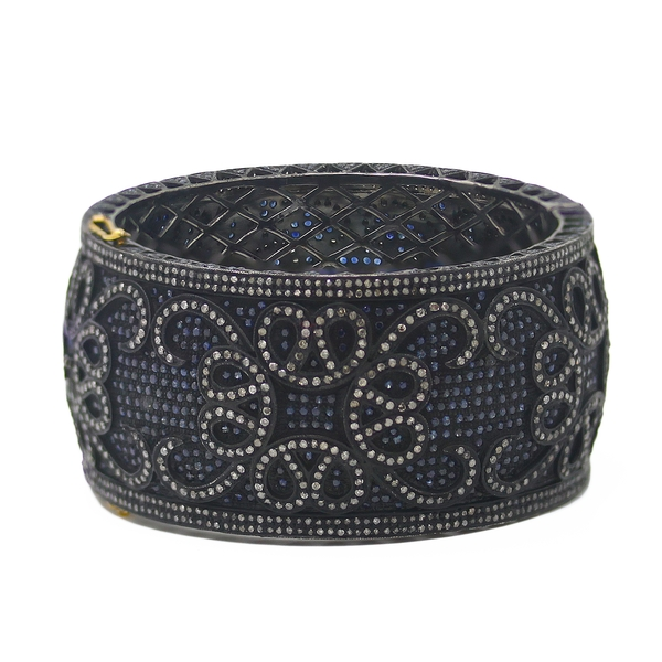 Heavy Oxidized Cuff Bracelet With Sapphires & Diamonds - Item # HM0090 - Reliable Gold Ltd.