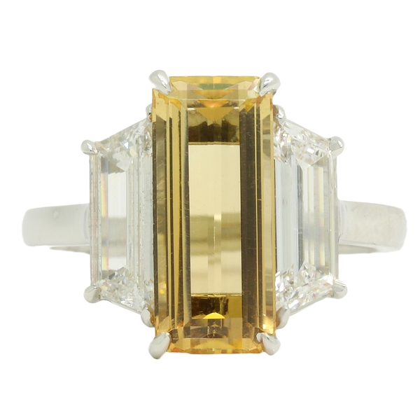 Imperial Topaz & Trapezoid Diamond Ring - Item # R1626 - Reliable Gold Ltd.