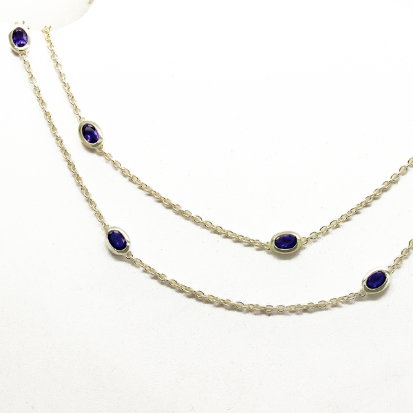 Iolite Bezel Set By-The-Yard Necklace In Sterling Silver - Item # N0032 - Reliable Gold Ltd.