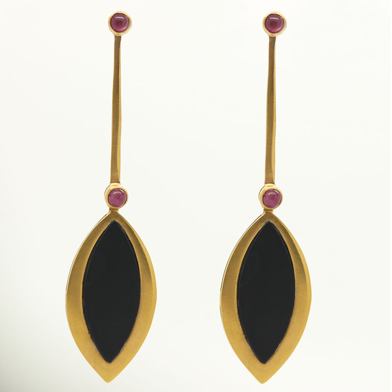 Onyx & Ruby Dramatic Drop Earrings In Yellow Gold-Plated Silver - Item # ER0045 - Reliable Gold Ltd.