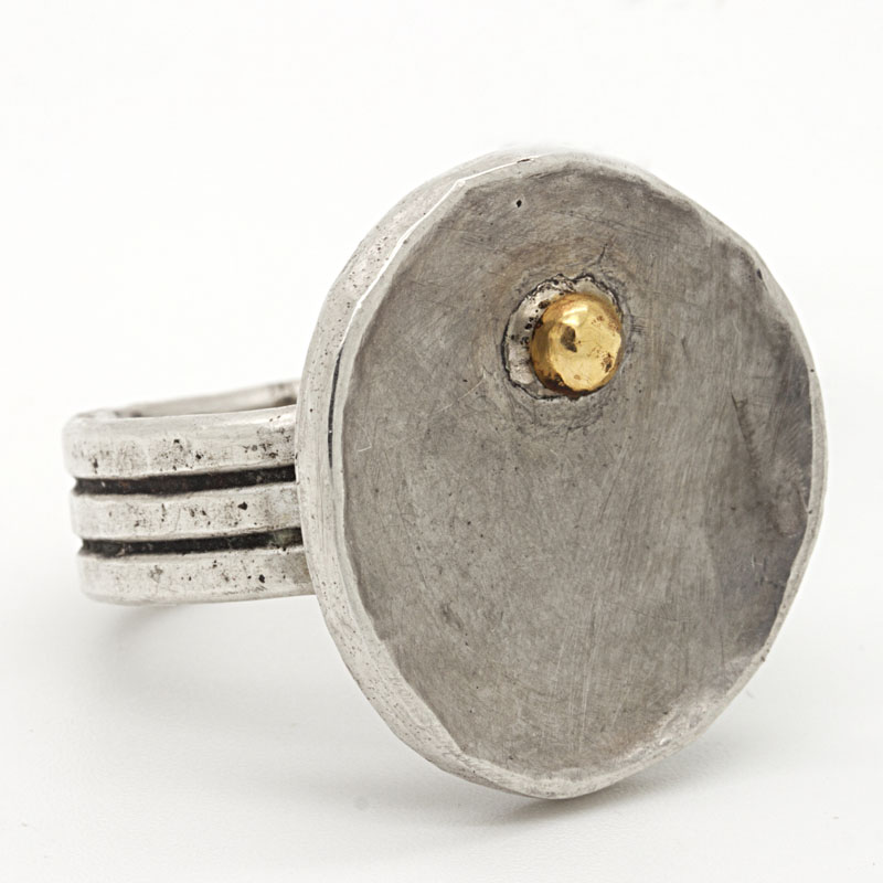 Handcrafted Yellow Gold & Fine Silver Disc Ring - Item # R-JS-1 - Reliable Gold Ltd.