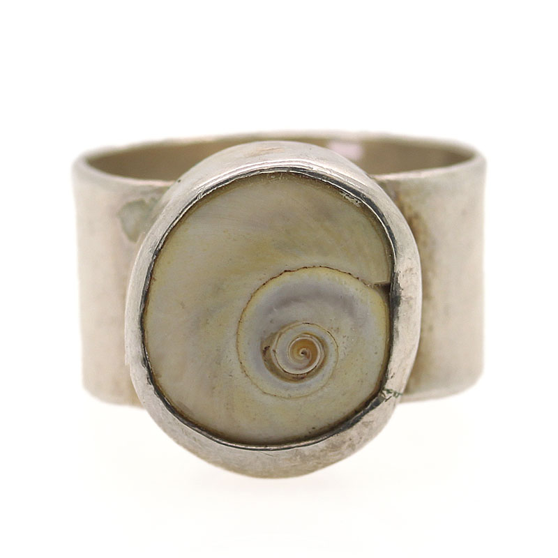 Spiral Shell Ring With Wide Band In Silver - Item # R0097 - Reliable Gold Ltd.