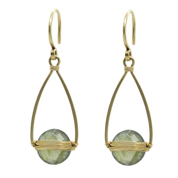 Labradorite Drop Earrings With Wire Wrap - Item # ER1607 - Reliable Gold Ltd.