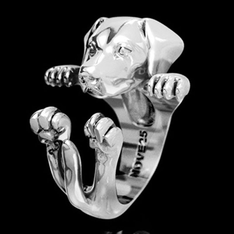 Labrador Retriever Sterling Silver Huggie Ring - Item # R0109 - Reliable Gold Ltd.