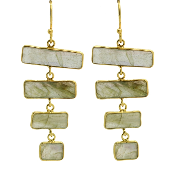 Rectangular Labradorite Drop Earrings - Item # ER1496 - Reliable Gold Ltd.