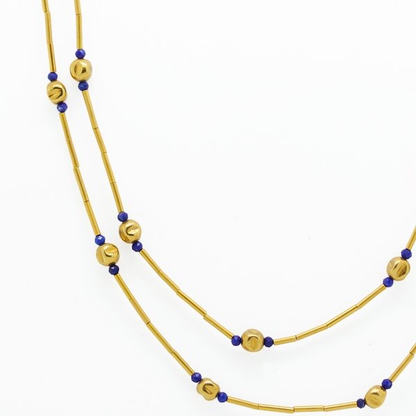 Long 24K Gold-Plated Necklace With Lapis - Item # N0266 - Reliable Gold Ltd.