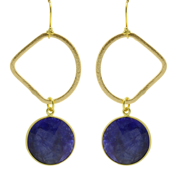 Round Lapis Drop Earring - Item # ER1502 - Reliable Gold Ltd.