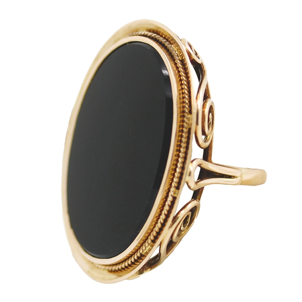 Black Chalcedony Ring - Item # R0446 - Reliable Gold Ltd.