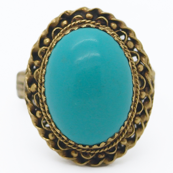 Large Estate Turquoise Cocktail Ring - Item # R00055 - Reliable Gold Ltd.