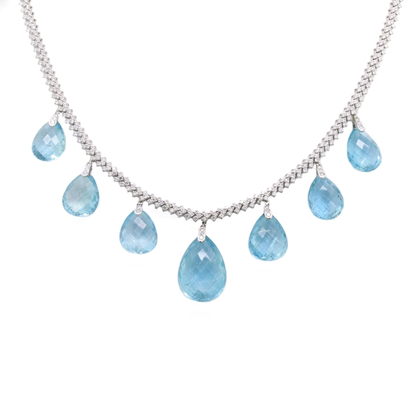 Diamond And Aqua Briolette Necklace - Item # HM0144 - Reliable Gold Ltd.
