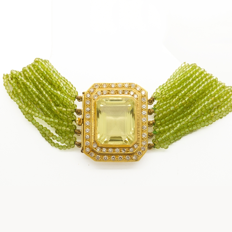Lime Quartz And Diamond Choker Necklace With Peridot Beads - Item # N0143 - Reliable Gold Ltd.