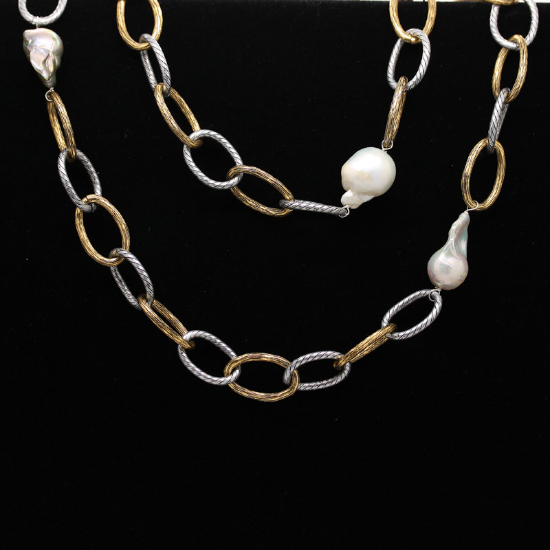 Long Link Chain With Baroque Pearls - Item # N0052 - Reliable Gold Ltd.