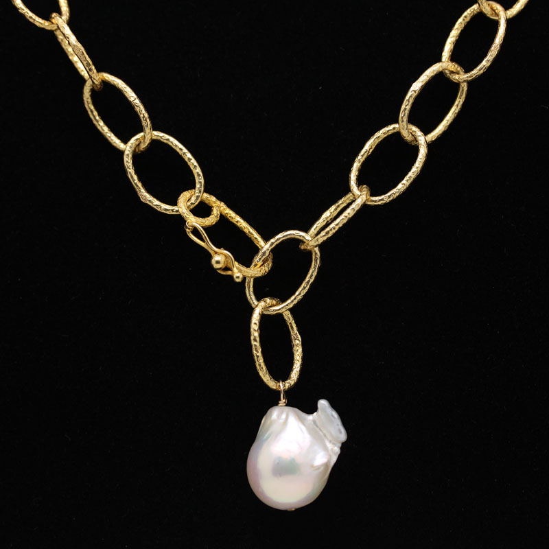 18K Yellow Gold Plated Link Necklace With Baroque Pearl Drop - Item # N0046 - Reliable Gold Ltd.