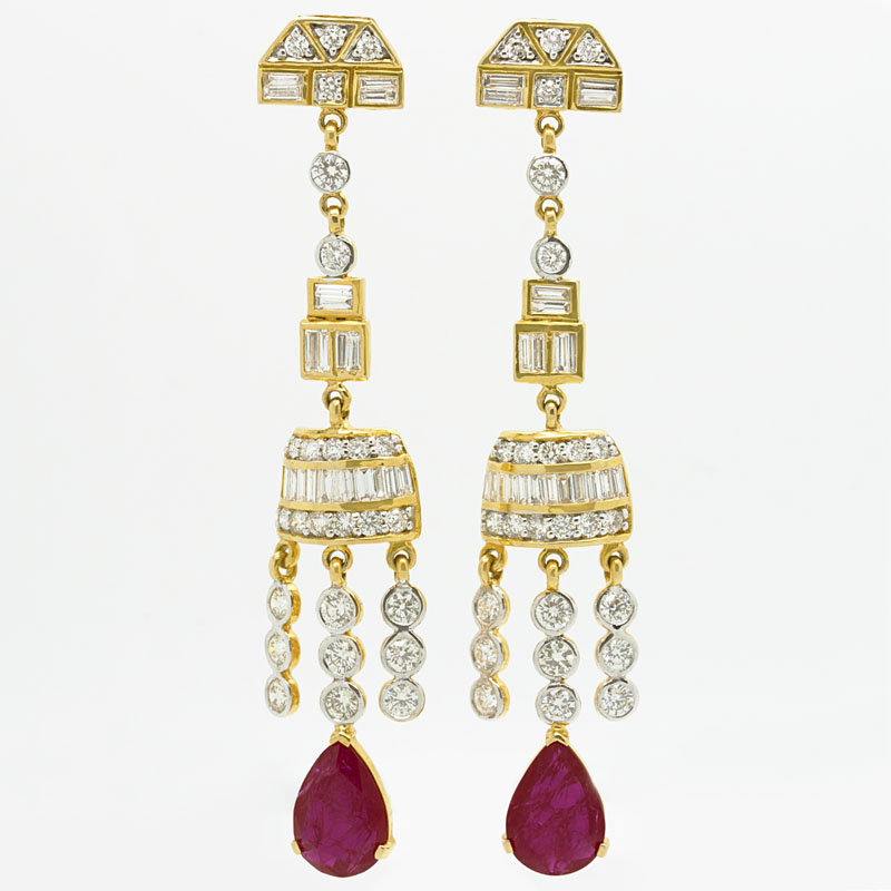 Dramatic Diamond & Ruby Drop Earrings In Yellow Gold - Item # ER-HC-9 - Reliable Gold Ltd.