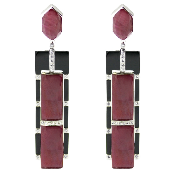 Deco-Style Ruby, Onyx & Diamond Long Drop Earrings - Item # HM0272 - Reliable Gold Ltd.