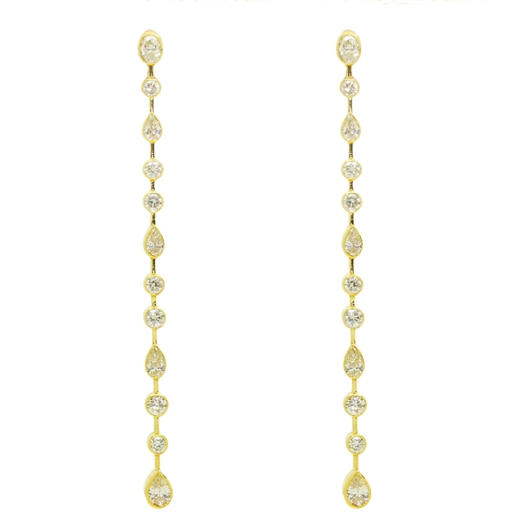 Long Bezel Set Diamond Column Drop Earrings - Item # HME1351 - Reliable Gold Ltd.