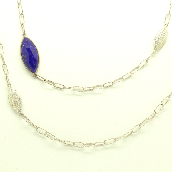 Sterling Silver Link Necklace With Lapis - Item # N1388 - Reliable Gold Ltd.