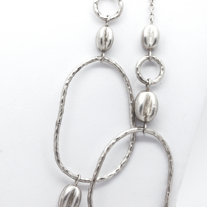 Extra Long Matte Silver Open Link Necklace - Item # N3198 - Reliable Gold Ltd.
