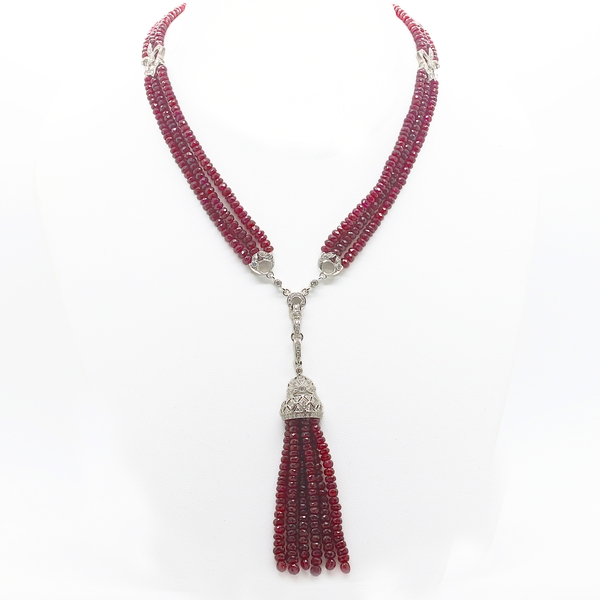Long Ruby & Diamond Necklace With Tassel - Item # HM0063 - Reliable Gold Ltd.