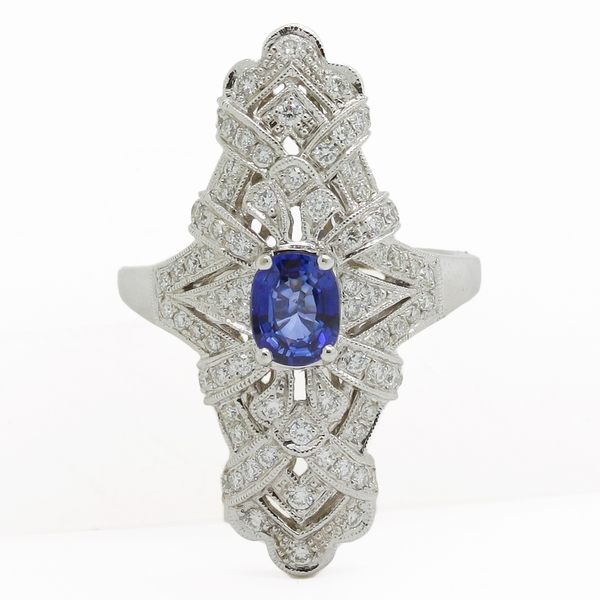 Long Sapphire & Diamond Shield Ring - Item # JHM041 - Reliable Gold Ltd.