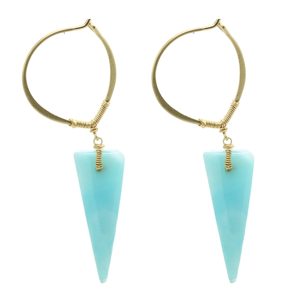 Trillion Larimar Earrings - Item # ER1609 - Reliable Gold Ltd.