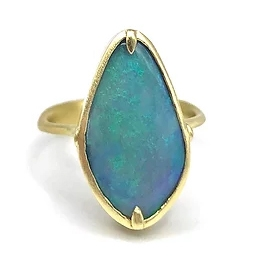 Teal Lozenge Opal Bezel Set Ring - Item # R0779 - Reliable Gold Ltd.