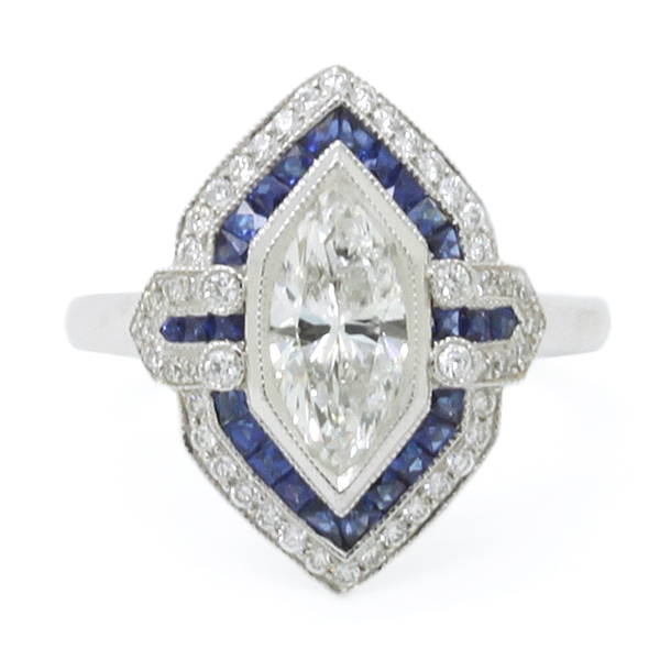 Marquise Diamond & Sapphire Antique Style Ring - Item # JM0055 - Reliable Gold Ltd.