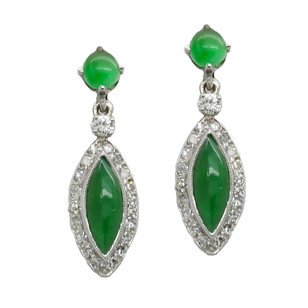Jade & Diamond Earrings - Item # JM0059 - Reliable Gold Ltd.