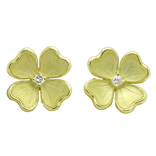 Flower Button Earrings With Diamonds - Item # ER1612 - Reliable Gold Ltd.