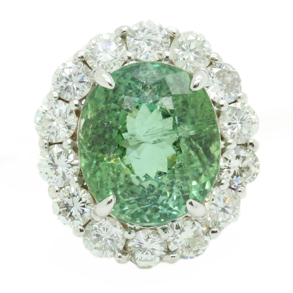 Large Oval Tourmaline Ring With Diamond Halo - Item # R1697 - Reliable Gold Ltd.