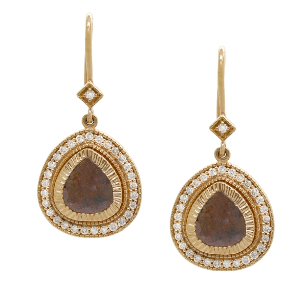 Mocha Diamond Drop Earrings - Item # RMPC6340V - Reliable Gold Ltd.