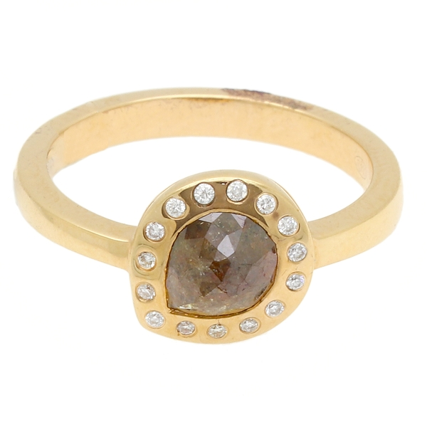 Mocha Diamond Halo Ring - Item # RMPC632V - Reliable Gold Ltd.