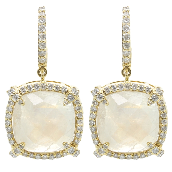 Moonstone Drop Earrings With Diamonds - Item # HM0414 - Reliable Gold Ltd.