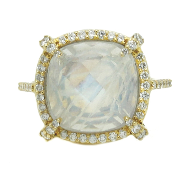 Moonstone Ring With Diamond Halo - Item # HM0388 - Reliable Gold Ltd.