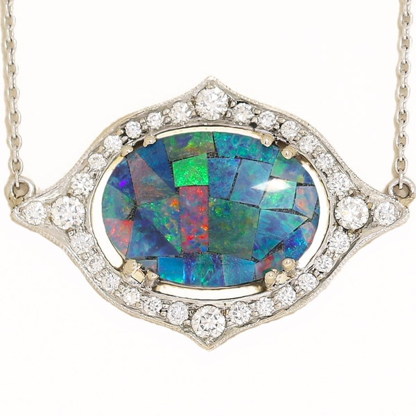 Australian Opal & Diamond Pendant - Item # HMP0695 - Reliable Gold Ltd.