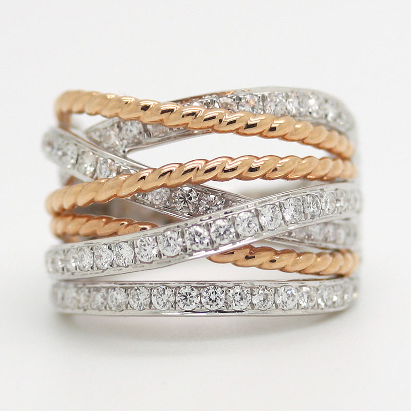 White & Rose Gold Multi-Row Band Ring With Diamonds - Item # R6380 - Reliable Gold Ltd.