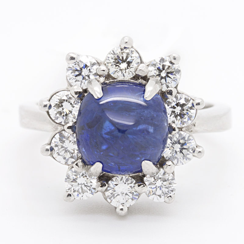 Natural, Unheated, Untreated Cushion Cut Sapphire And Diamond Ring - Item # R-HC1-M - Reliable Gold Ltd.