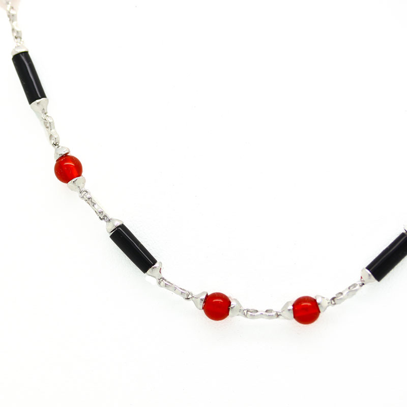 Onyx & Agate Necklace In White Gold - Item # N0084 - Reliable Gold Ltd.