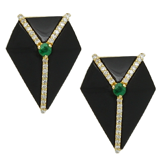Onyx Button Earring With Emeralds & Diamonds - Item # HM0387 - Reliable Gold Ltd.