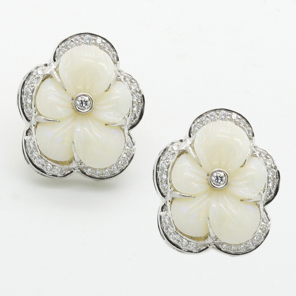 Opal & Diamond Flower Earrings - Item # HM0408 - Reliable Gold Ltd.