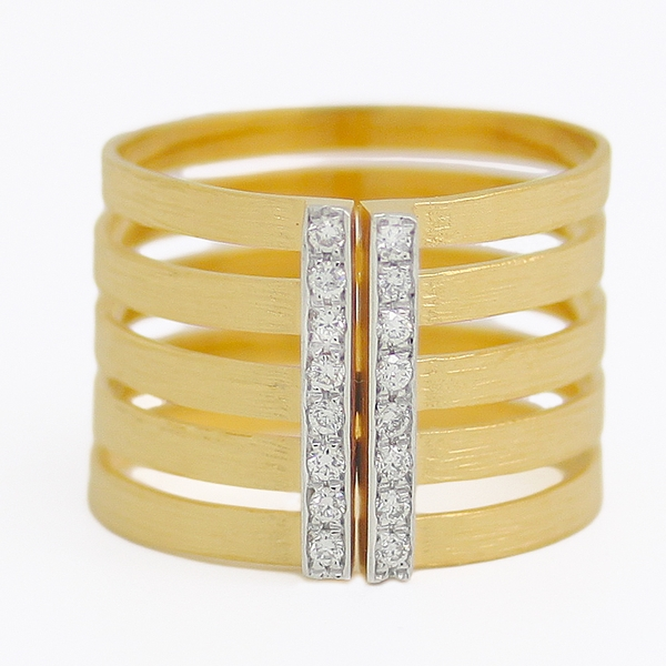 Open Row Open Front Yellow Gold Band With Diamonds - Item # R0361 - Reliable Gold Ltd.