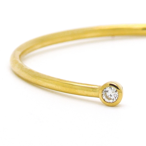 Yellow Gold Bangle Bracelet With Diamonds - Item # B0139 - Reliable Gold Ltd.