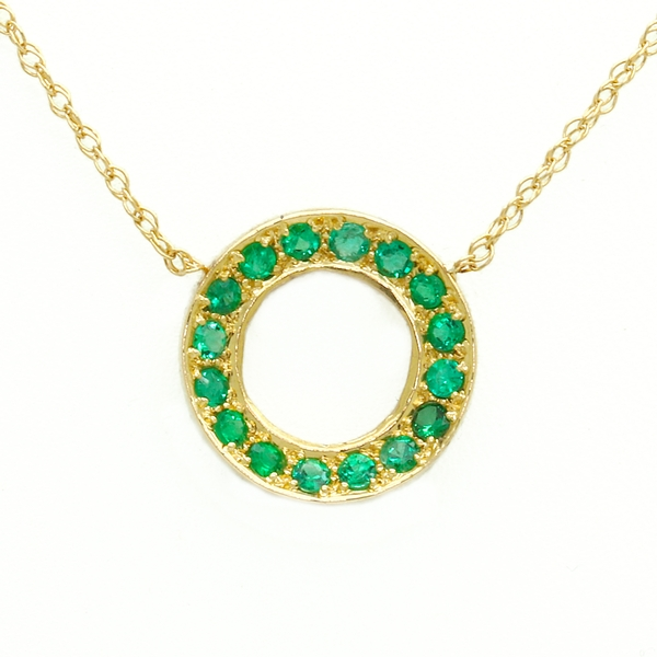 Emerald Circle Pendant In Yellow Gold - Item # N1400 - Reliable Gold Ltd.